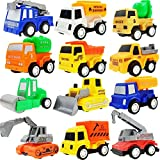M-jump Pull Back Vehicles ,12 Pack Assorted Construction Vehicles Toy, Die Cast Vehicles Truck Mini Car Toy For Kids Toddlers Boys,Pull Back and Go Car Toy Play Set