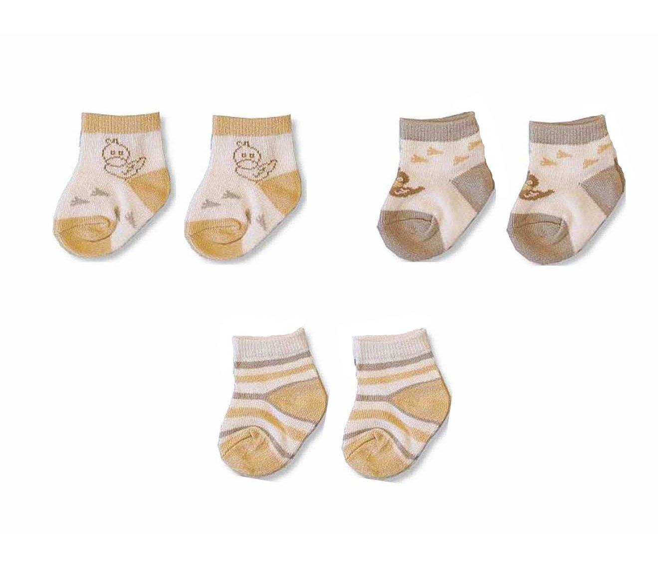 Baby Boys/Girls Cute Socks 3 Pairs - Cream Quack Design (UK 0-2 / EUR 16-18) Nursery Time BW 6112-2103 105