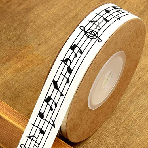 Exceart Cotton Ribbon Musical Notes Fabric Ribbon DIY Craft Ribbon for Gift Wrapping Sewing 10m