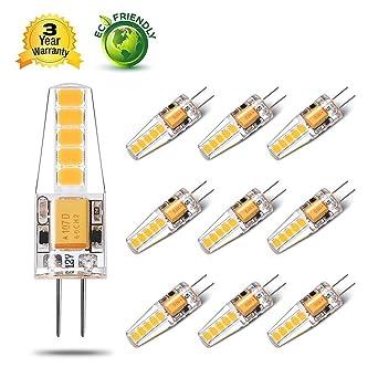 Yuiip Bombilla LED G4 Lámpara 2W Equivalente a 20W 200 LM AC/DC 12V Blanco Calido ...