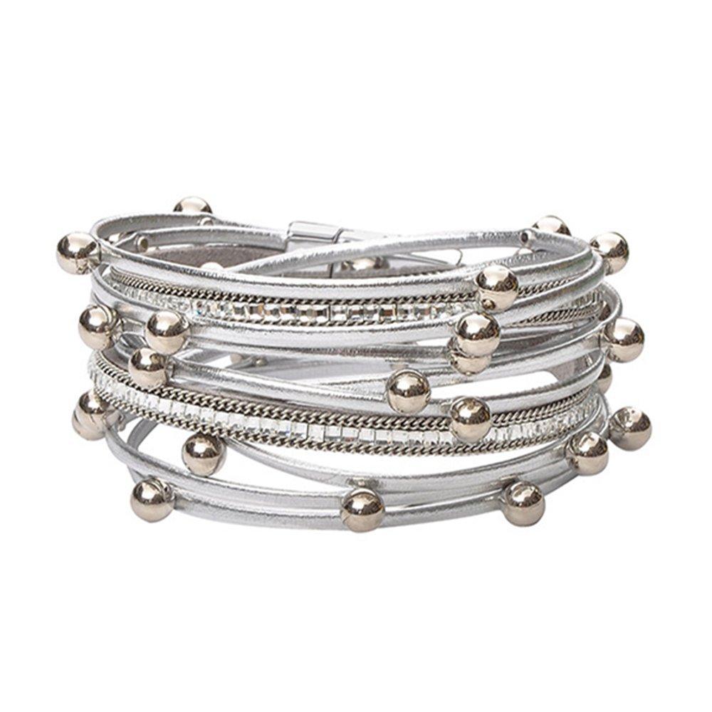 TASBERN Stud Beads Leather Cuffs Bracelet Beaded Charm Crystal Silver Wrap Around Bracelets Jewelry for Women Girls Teens Gift