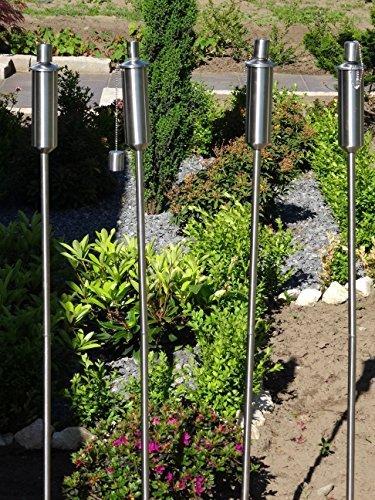 Tourwell Vertrieb 4 x Gartenfackel Ölfackel Edelstahl Fackeln XXL 120 cm rostfrei Wetterfest - Garten Fackel in Premium Qualität, mit Metallerdspieß, weitere Gartenfackeln erhältlich mit Metallerdspieß