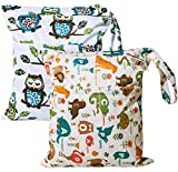 #7: 2 Pack Cloth Diaper Wet Bags - Baby Waterproof Washable Reusable Clothes Bags Travel Diaper Bag Organizer for Baby Infants, Wet Dry Bag with Double Zippered Pockets