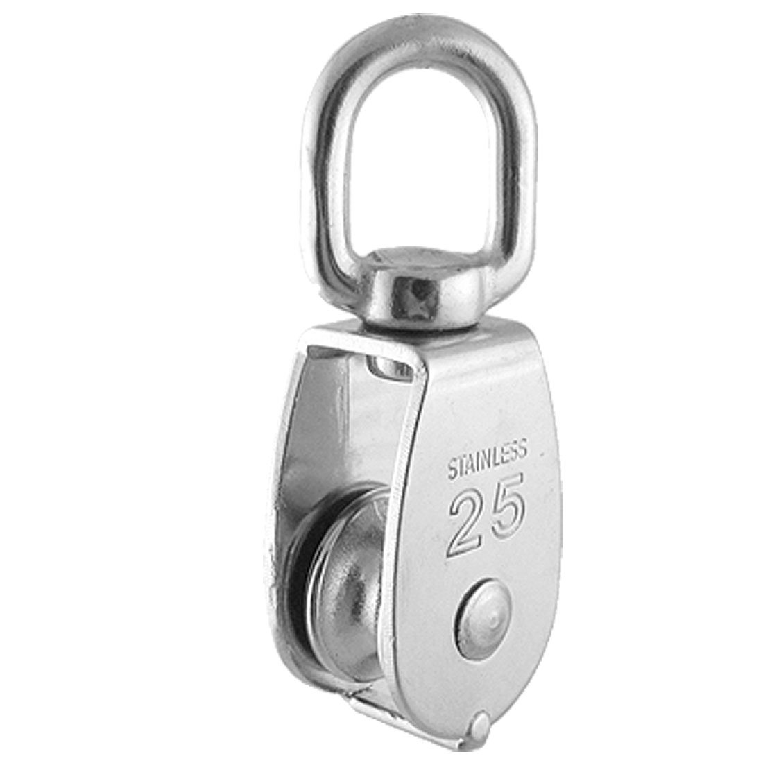 uxcell 0.025 Ton Silver Tone Single Wheel Swivel Rope Pulley