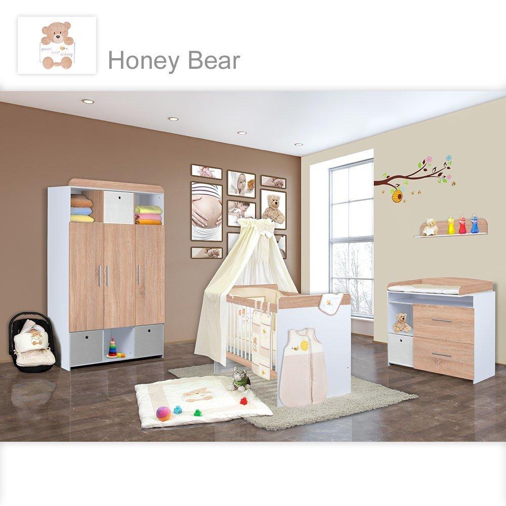 Babyzimmer Mexx in Sonoma 11 tlg. mit 3 türigem Kl. + Set Honey Bear Beige