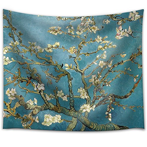 """Get Orange Wall Tapestry Beautiful Night Sky Wall Art Home Decor, the Milky Way and the Trees Tapestry Wall Hanging Art Sets 60x51 Inches (80""""x60"""", Almond Blossoms)"""