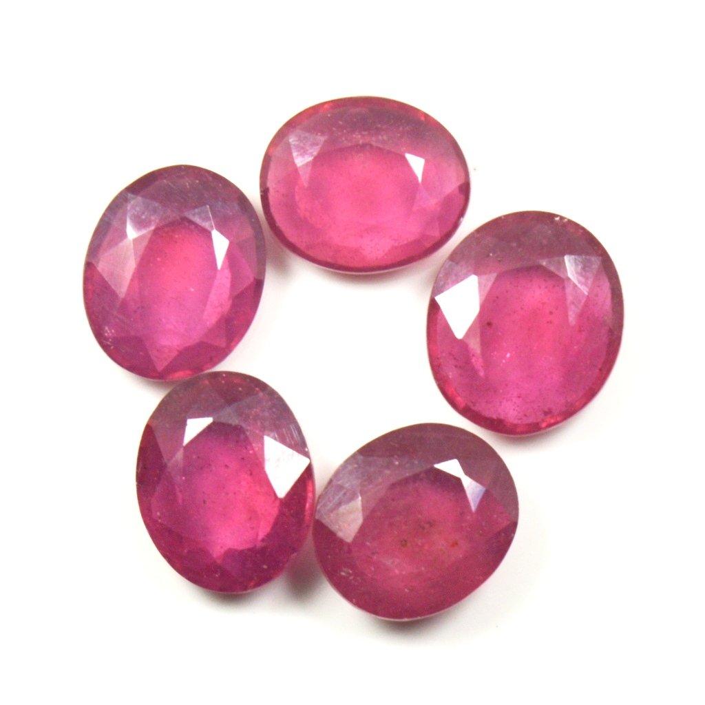 Pierre v/éritable rubis Total 15 carats 5 pi/èces en vrac pierres pr/écieuses ovale coupe gu/érison gros juillet Birthstone