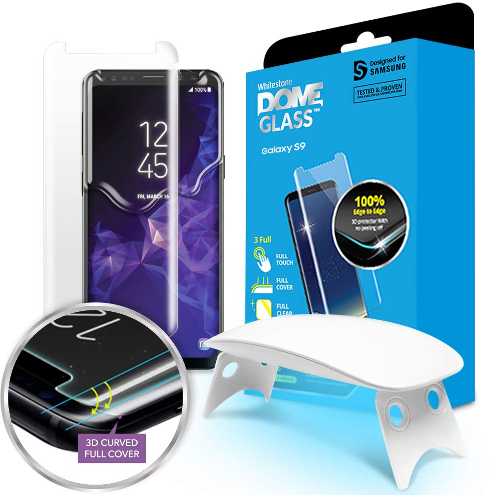 Galaxy S9 Screen Protector, [Dome Glass] Full Coverage 3D Curved Tempered Glass Shield [Liquid Dispersion Tech] Easy Install by Whitestone for Samsung Galaxy S9 (2018) - 1 Pack by Dome Glass