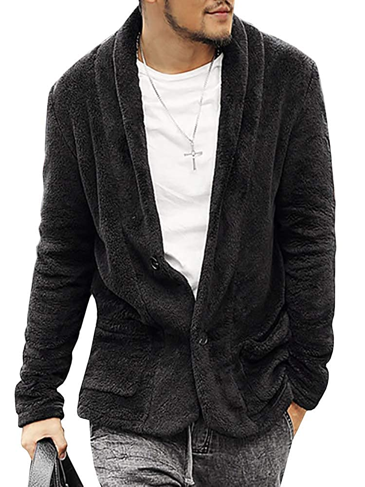b350aeecc36 Mens Faux Fur Cardigan Fuzzy Fleece Jacket Button Down Coat Outwear with  Pocket at Amazon Men s Clothing store