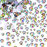 Outus Flatback Rhinestones Round Crystal Flat Back Gems 4 Mix Sizes 800 Pieces