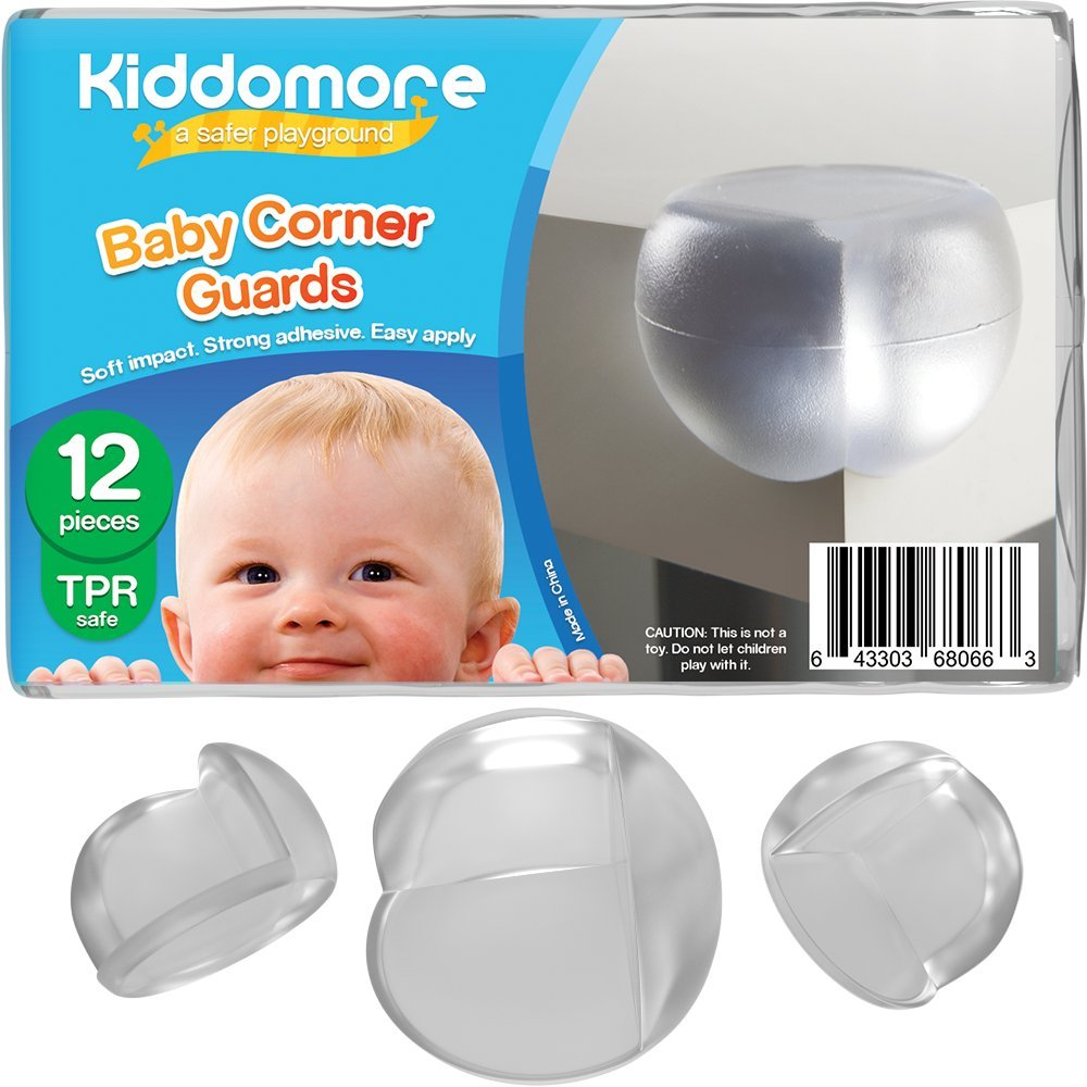 SUPER SALE 12 Pack Corner Protector Guards – Strong Child Proof Bumpers - Comes with My Baby Safety Tips Ebook - Best for Furniture with Sharp Corners in Your Home Kiddomore 0055k