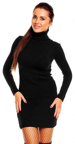 bc270ce07a44 Zeta Ville - Vestito dolcevita in maglia - aderente - collo alto - Donna  888z (