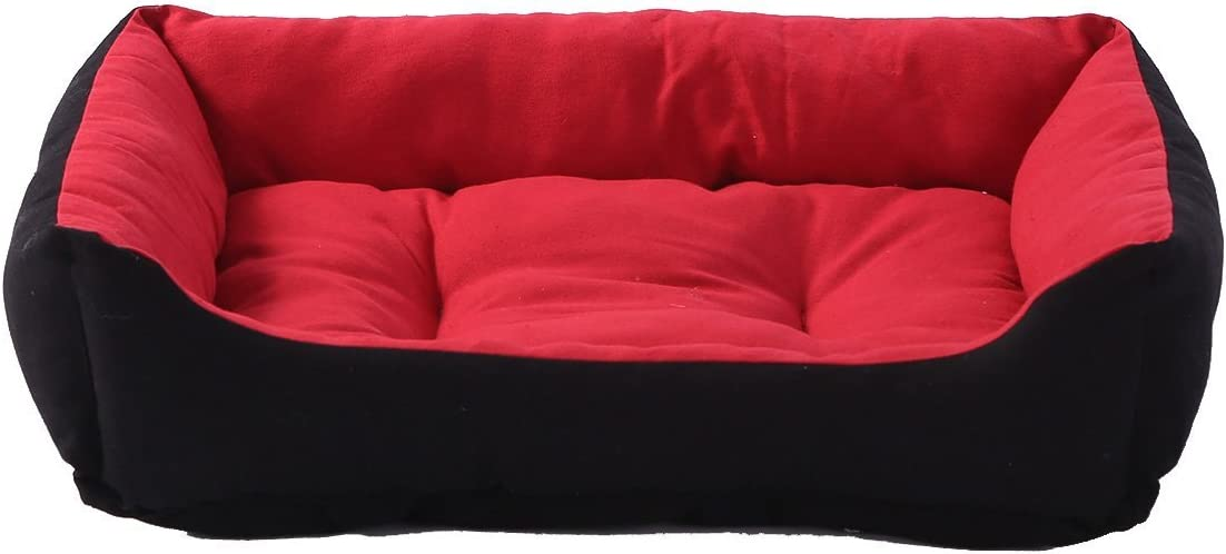 SewForever Durable and Fashionable Pet Cuddle Cushion Dog Sleeping Bed Cat Sleeping Bed, Red and Black, Large