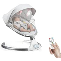 HONEY JOY Baby Swings for Infants, Remote Control Baby Rocker w/5-Point Harness, Natural Sway in 6 Speeds, Canopy w…
