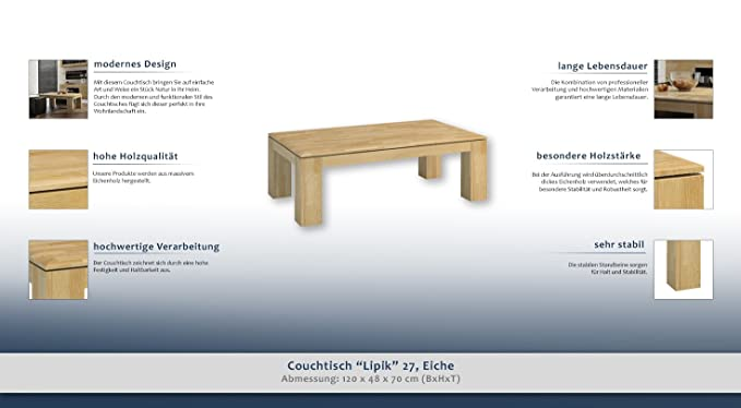 Sofá Mesa Café mesa mesa roble madera maciza natural 48 x ...