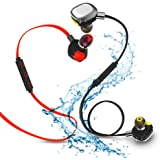 Bluetooth headphones Morul 2pcs Packing Light Weight Aptx Wireless Bluetooth Headsets for Sports with Waterproof Ipx7 Bluetooth 4.1 Noise cancellation for IPhone and Android phones – Red and Black