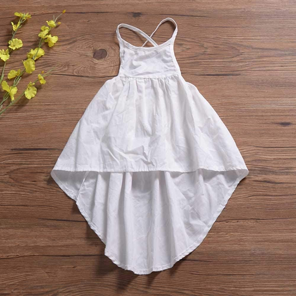 bilison Toddler Baby Girl Clothes Cute Solid Color Ruffle Sleeve Dress Summer Lace Sundress Outfit