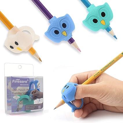 Agarrador de Lápiz, Firesara originales Búho Pencil Grip para para niños Escritura Ergonómico 3 juegos