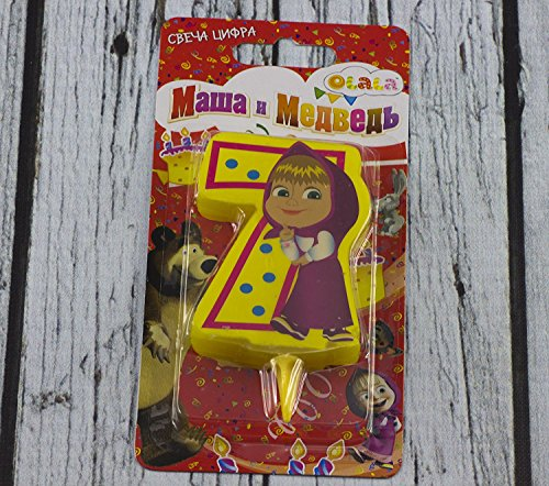 Сandle on a Cake Topper 7 Years Masha and the Bear Must Have Accessories for the Party supplies and Birthday Masha y el Oso para niños