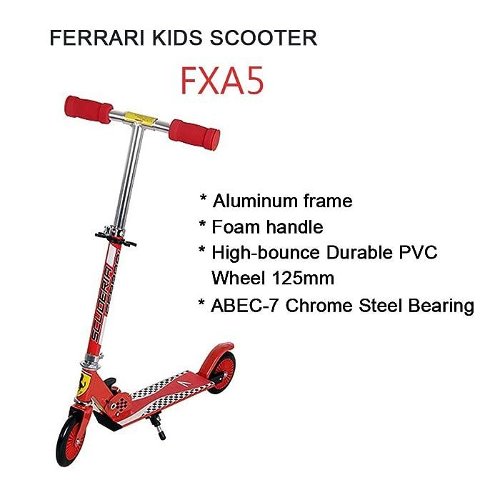 Ferrari FXA5 - Foldable Scooter Patinete de 2 Ruedas para Niños (Altura Ajustable, Diámetro de Rueda 125MM, Carga hasta 40Kg, Pedales Antideslizante), ...