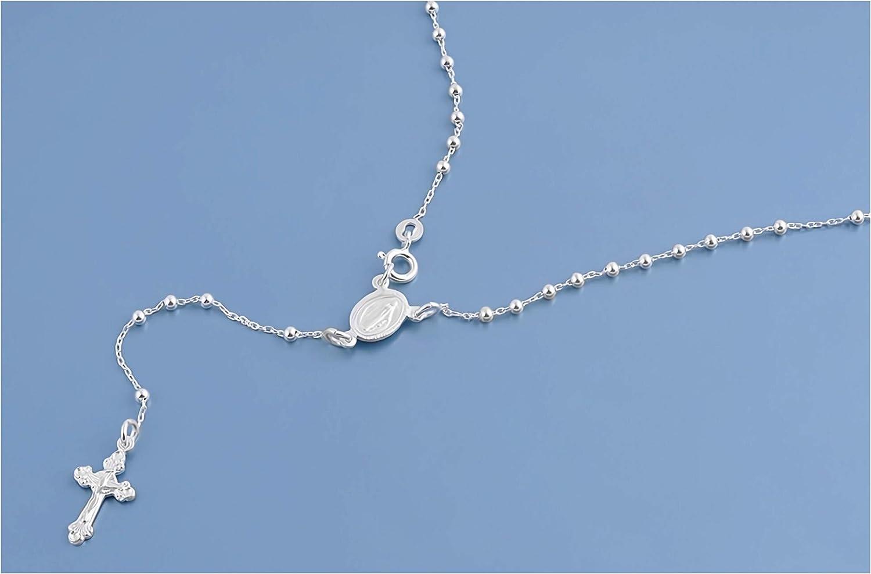Gemlings Collar de plata fina con perlas de Rosario católico [Rosario] | Joyería religiosa [2.5mm]