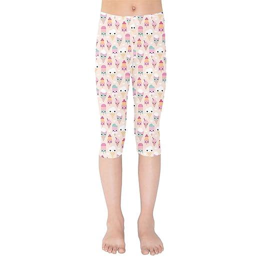480f2cc158d1fb Amazon.com: Kawaii Icecream Kids Capri Leggings: Clothing