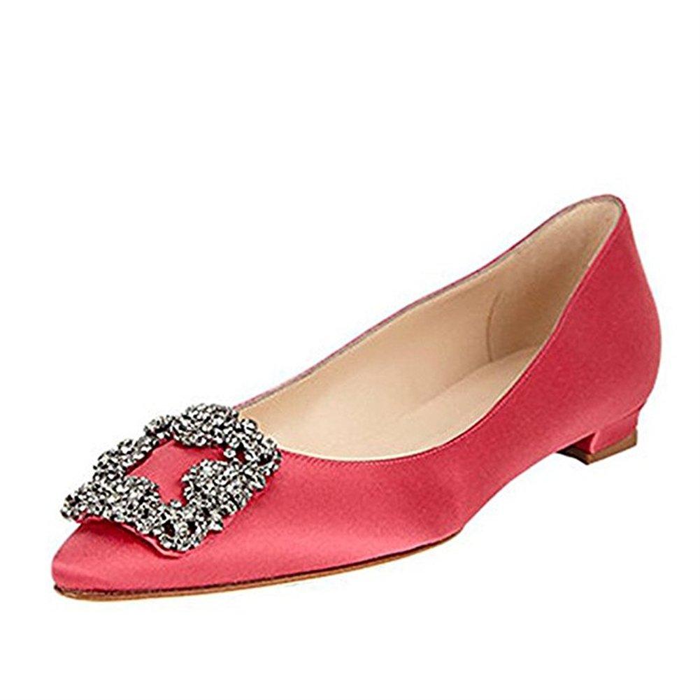 Caitlin Pan Femmes Red-flat Escarpins Classique Chaussures Talons Diamants Hauts Satin Bout Pointu Diamants Talon Aiguille Chaussures de Robe Red-flat 70fbb51 - piero.space