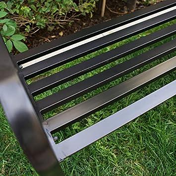 Belleze 50 Blossoming Garden Decorative Patio Park Bench, Black