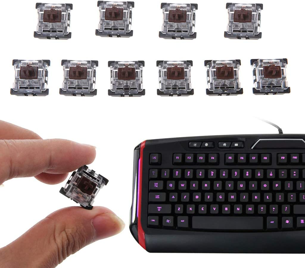 BHY 3Pin Brown Switch Black Keycap Button with Keychain for Mechanical Keyboard