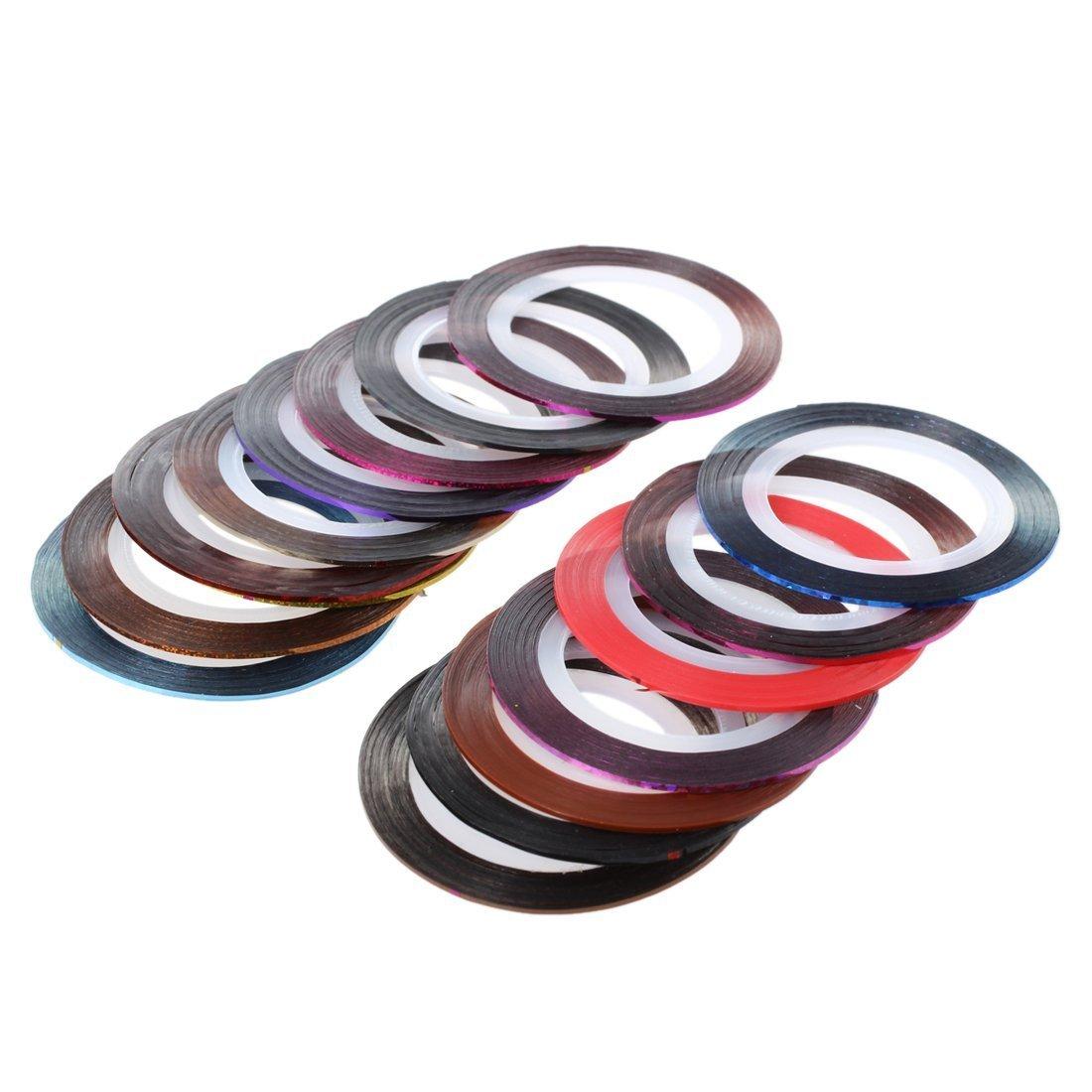 SODIAL(R) 18 Rolls Nail Art UV Gel Tips Striping Tape Line Sticker Decoration
