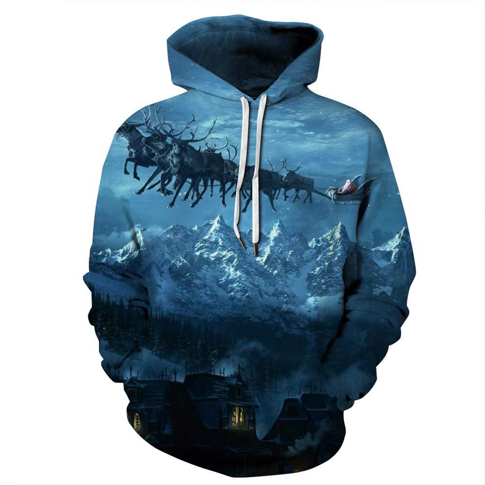 URVIP Unisex Christmas Theme 3D Printed Pullover Fashion Hoodies Sweatshirts QYDM-385 XXL/XXXL by URVIP