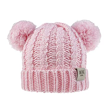 Kids Winter Cute Beanie Hat,Baby Girls Toddler Knit Pom Pom Ears Chunky Thick Stretchy Soft Cap