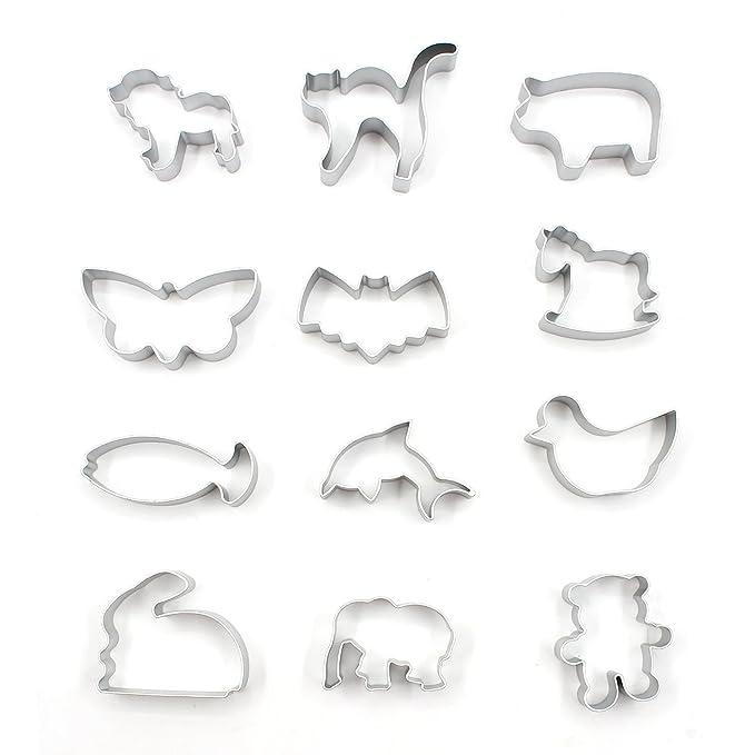 1 opinioni per Almondcy, 12stampi tagliabiscotti a forma di diversi animali, in alluminio