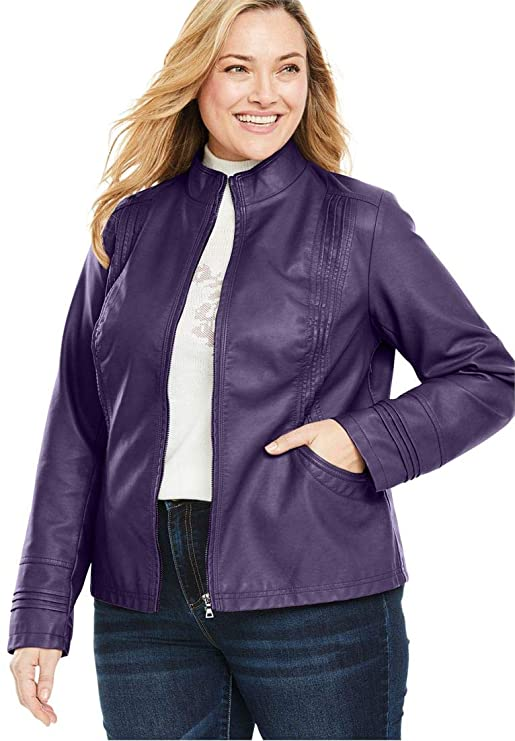 Woman Within Plus Size Faux Leather Pleat Jacket - Midnight Plum, 20 W