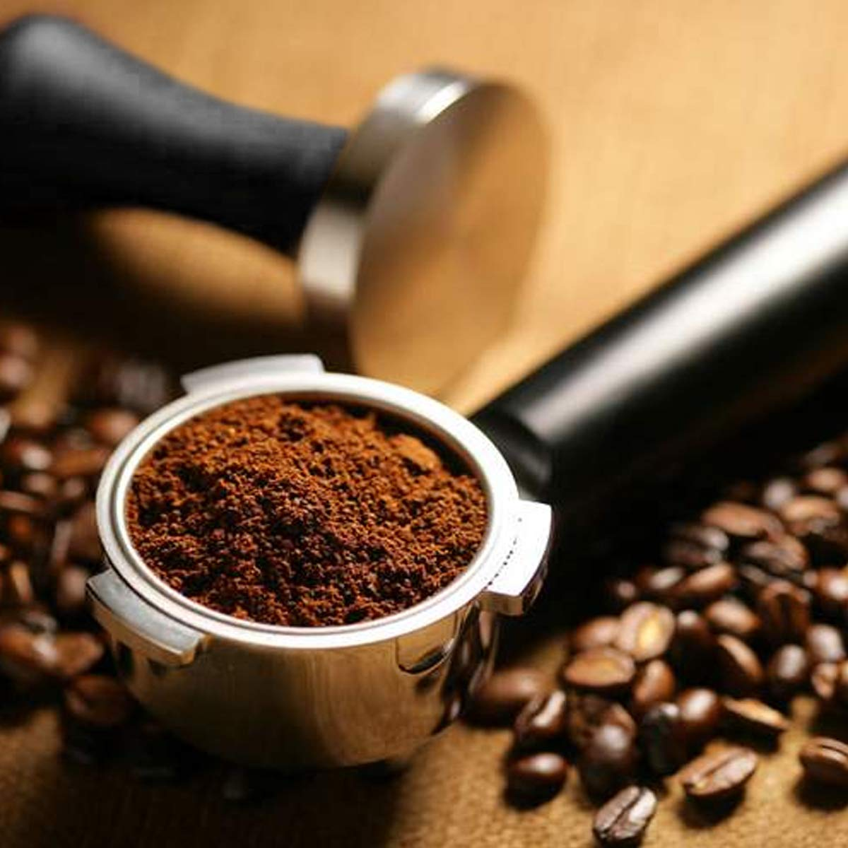 Black Ergonomic Handle Powder Press Premium Barista Coffee Compactor with 100/% Flat Stainless Steel Base Wingjip 53mm Italian Compaction Machine
