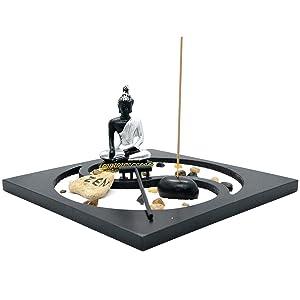 Homelex Zen Rock Garden Buddha Sculpture Rake Sand Candle Incense Burner Tray Gift (SCZ-05)