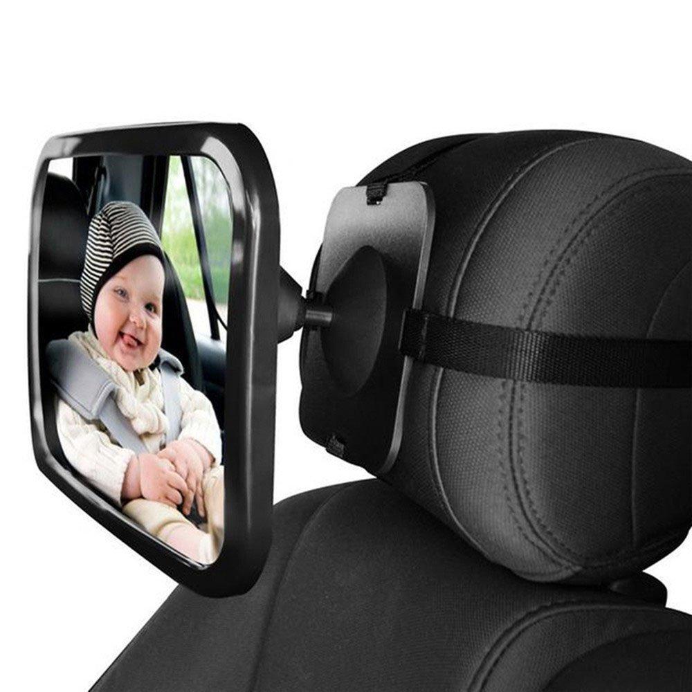 L& HM Rückspiegel/Auto Baby Spiegel drehbar, Kinder Beobachtungsspiegel/Kinderspiegel für Babyschalen, Babyspiegel in universeller Passform, Rücksitzspiegel fürs Baby-360 Grad Winkeleinstellung