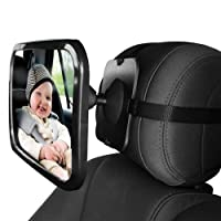 L&HM Large Baby Car Adjustable Mirror to See Your Child in Your Rear View Mirror - Must Have Essential Safety Accessory For Newborns and Young Children In Rear Facing Car Seats Colour Black