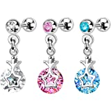 PINK CLEAR BLUE 316L Surgical Steel Cartilage Tragus Helix earring Barbell upper ear cartilage bar stud ring