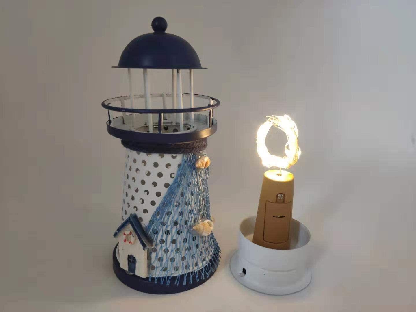 Lighthouse Decoration Mediterranean Style Flash Ocean Iron Crafts Iron Vintage Shell Fishing Net Home Accessories Modern Retro Wind Mini LED Lighthouse (Warm Color LED): Health & Personal Care