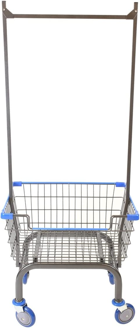 Cart supply Coin Laundry Cart, Laundry Cart with Double Pole Rack Metal Gray