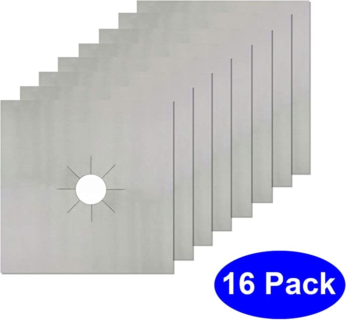 Gas Stove Covers - 16 PCS Gas Range Stove Burner Protectors - Double Thickness & Heat Resistant Stove Top Covers 10.5-Inch - FREE Eyeglass Pouch (16, Silver)