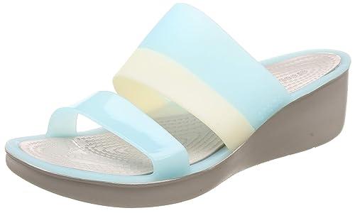 3e17de688fe crocs Women s Colorblock Wedge W Aqua Fashion Sandals-W6 (200031-4CW-W6