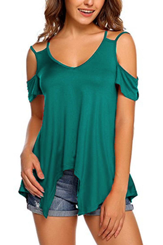 Landove Camisetas Sin Tirantes Mujer Básica Tops Manga Corta T Shirt Verano Elegante Moda Blusa Casual Pullover Tunica Lisos L-TX09