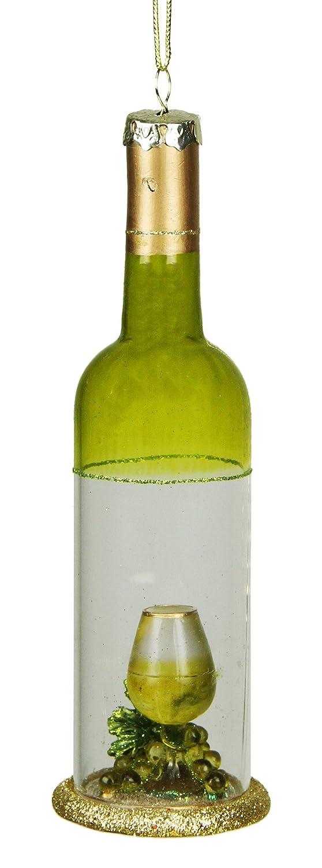 Northlight Bodega Toscana Verde Transparente para Botella de Vino de Cristal Adorno de Navidad, 7