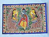 "YAPREE HANDMADE INDIA MADHUBANI FOLK ART PAINTING KRISHNA WITH GOPIS : 22""X 15"""