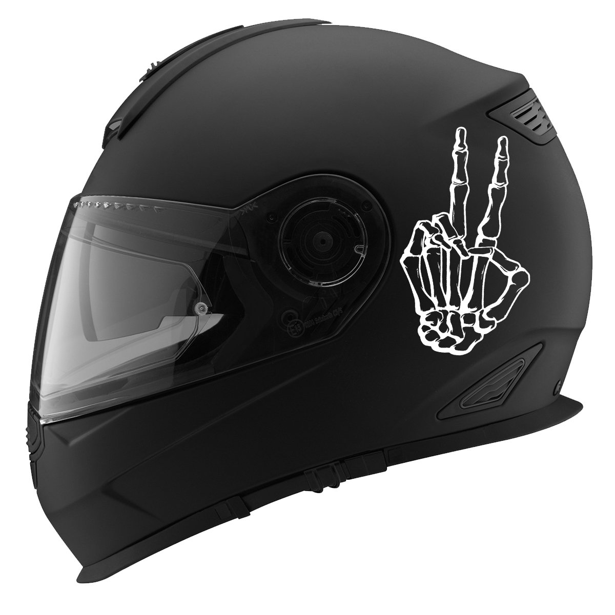 5 Skeleton Peace Out Hand Sign Auto Car Racing Motorcycle Helmet Decal White