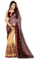 Sourbh Women's Georgette Saree With Blouse Piece (192A, Beige, Free Size)