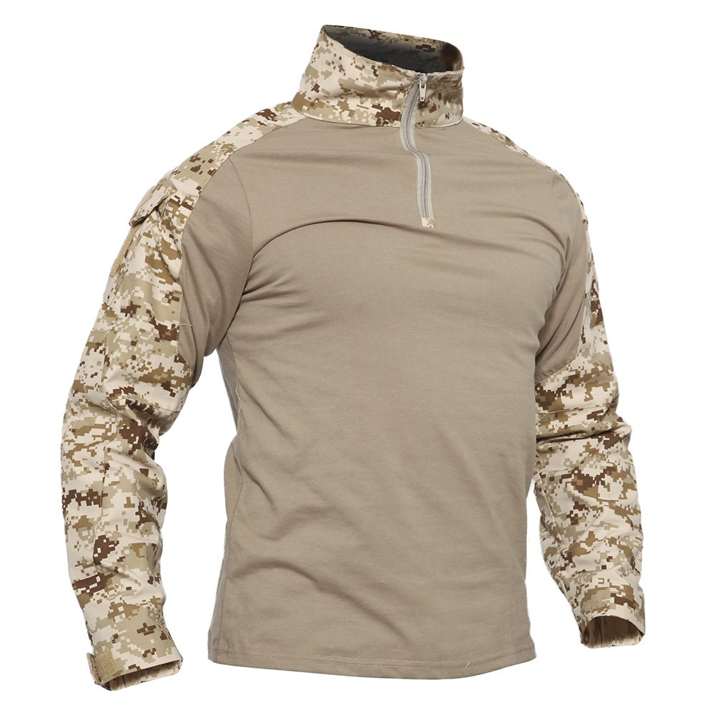 TACVASEN Mens Tactical Digital Camo Tactical Assault Long Sleeve T-shirt Tops Desert