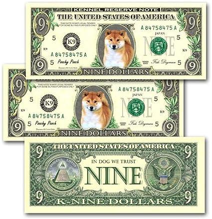 MONEY FAKE 10-Pug Dog Dollar Bills--Novelty ITEM N Collectible